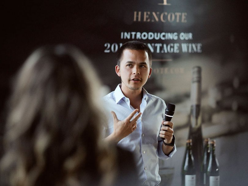Hencote general manager Mark Stevens gives a talk at a recent wine launch