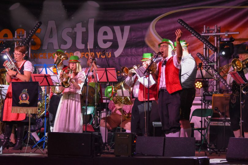 An Oompah band on stage at Shropshire Oktoberfest