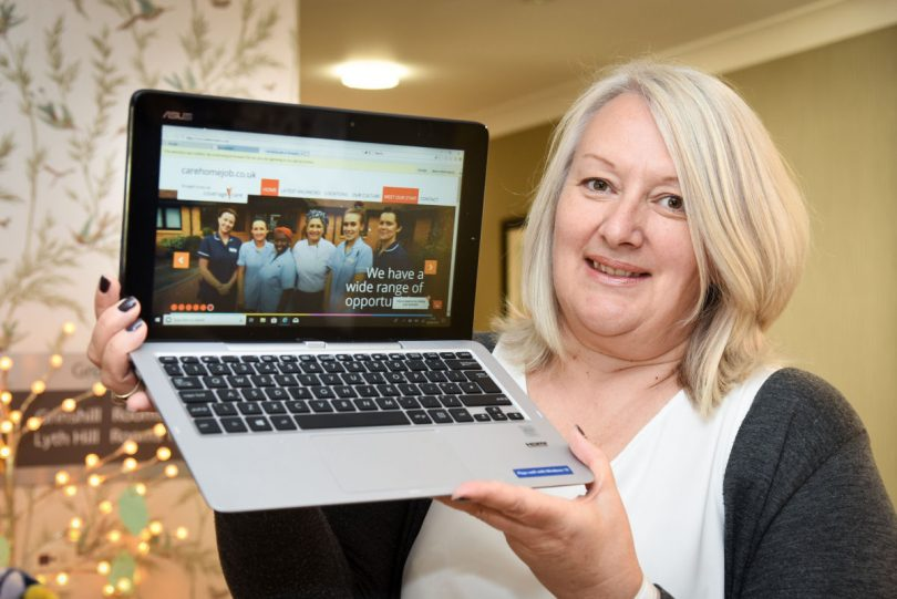 Samantha Woosnam, head of HR for Coverage Care Services, shows off the new Care Home Job website