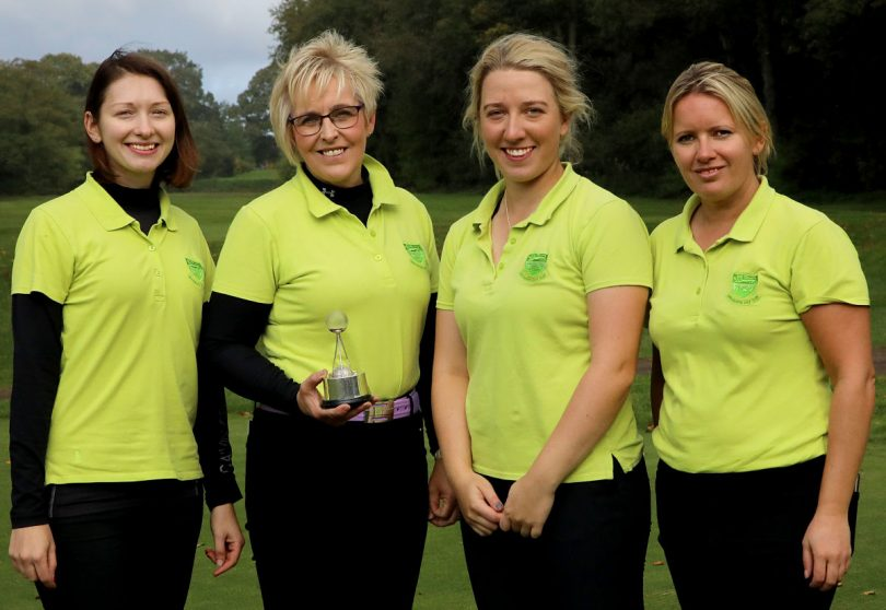 Helen Fowler, Alison Grove (Capt.) Imogen Huxley and Laura Morris Bridgnorth G.C. Ladies Scratch League Winners (Anne Jarvis Trophy) 2019