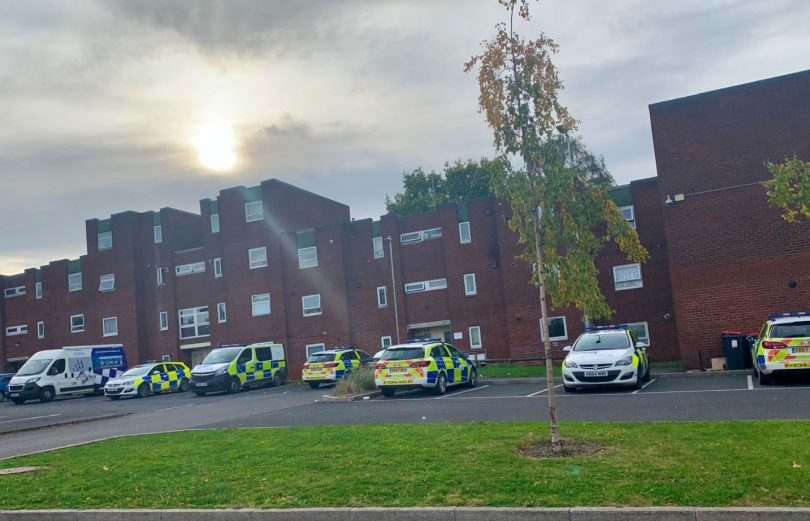 Police cars parked up on the Brookside estate in Telford. Photo: West Mercia Police