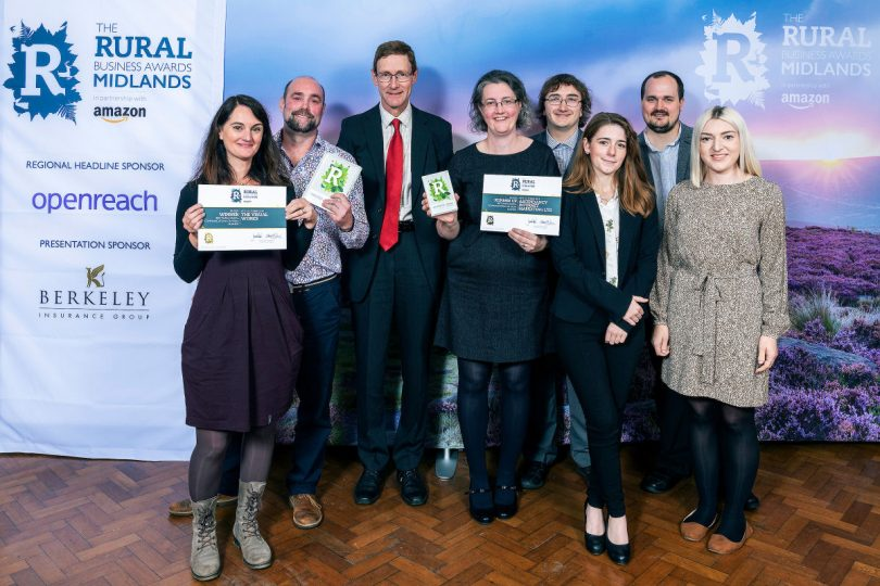 Vicky Stone and Ben Stone, of the Visual Works, with award presenter Peter Snodgrass, of Shakespeare Martineau, and Helen Culshaw, James Keeney-Wilson, Bethan Evans, Alex Culshaw and Lauren Quayle, of Ascendancy Internet Marketing