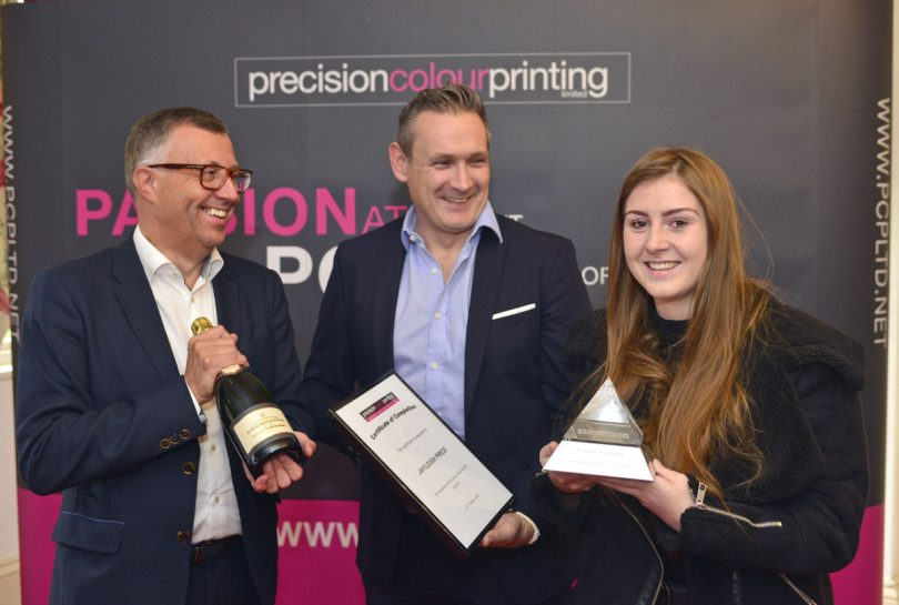 Jayleigh Price, with Alex Evans and Steve Power, of the British Printing Industry Federation
