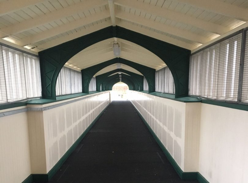 The deck walkway has been renewed with an anti-slip surface and the structure has been repainted. Photo: Network Rail
