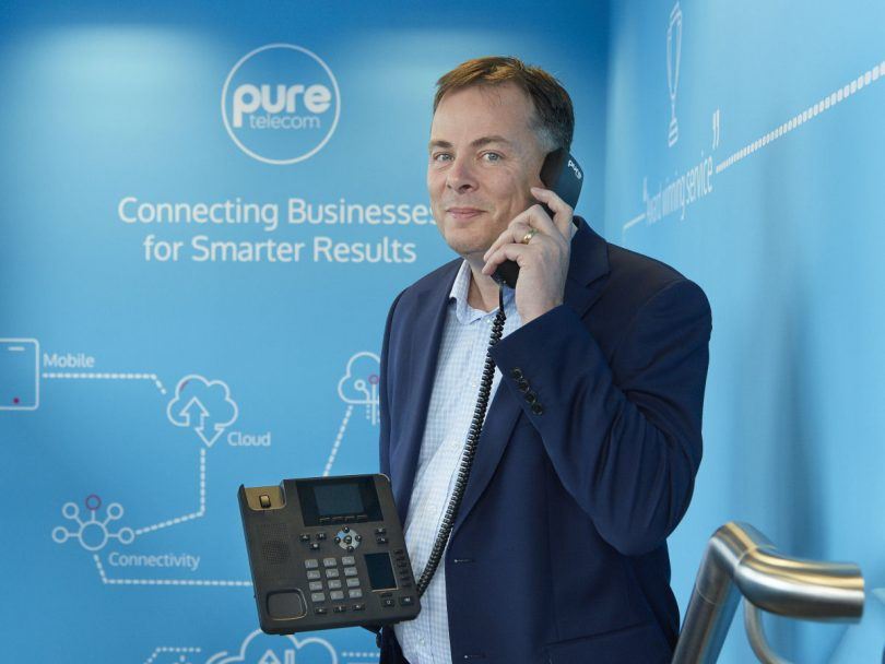 David Hayward, managing director of Pure Telecom, with the new Pure VoIP