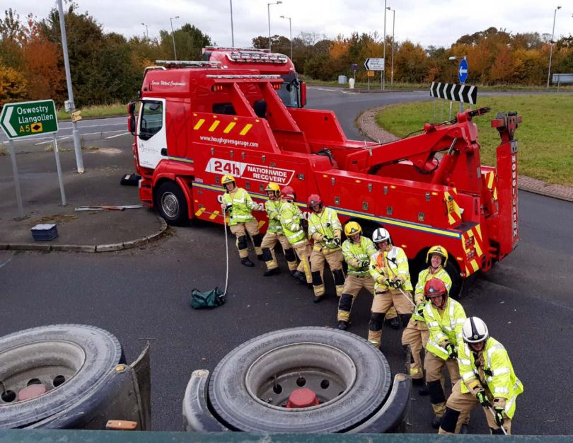 Fire crews at the scene of the incident on the A5. Photo: Shropshire Fire and Rescue Service