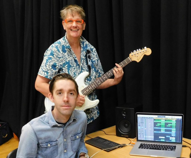 Sal Hampson from The Hive in Shrewsbury with musician James Stanley. The Hive, working with James, used the funds to deliver a number of music sessions to young people
