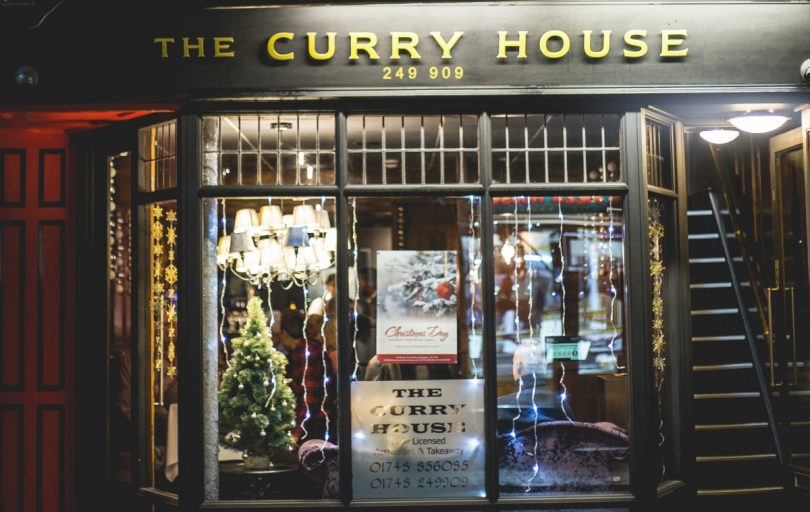 The Curry House Outside Christmas
