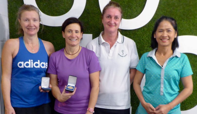 The ladies over-50s finalists, from left, Cath Barton, Aude Legeais, Karen Pearce and Renuka Elliot