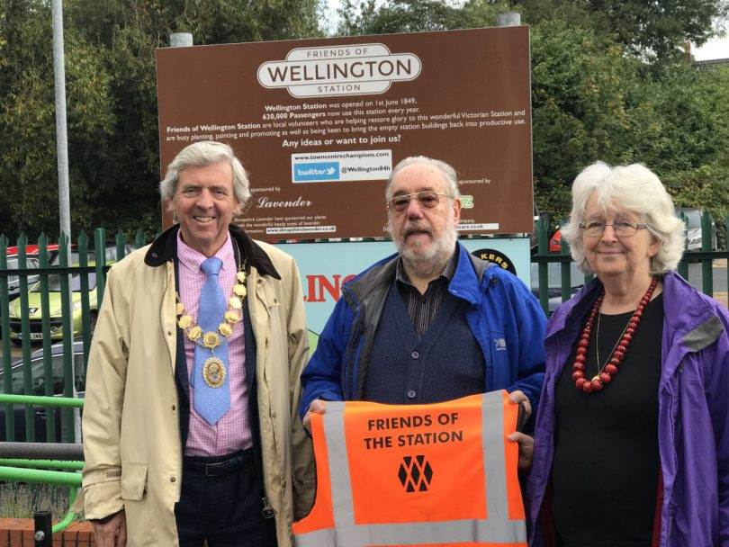 Pictured with the mayor of Wellington Anthony Lowe are Friends of Wellington Station members Bob Colbran and Kath Howard