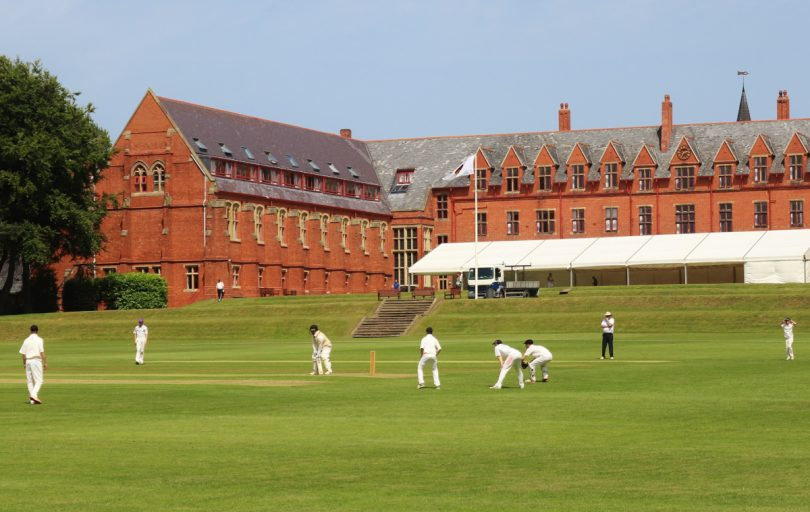 Cricketers in action at Ellesmere College
