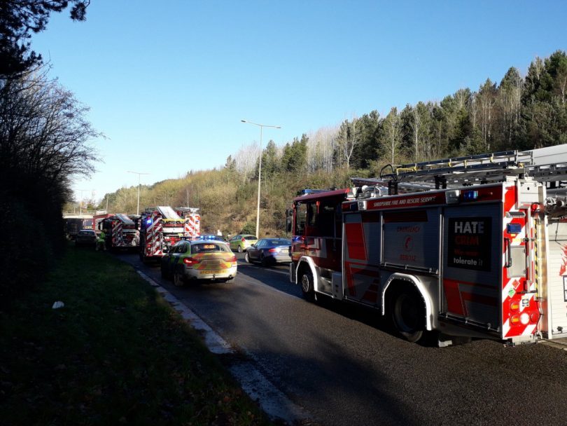 The scene of the collision on the A442 in Telford. Photo: @OPUShropshire