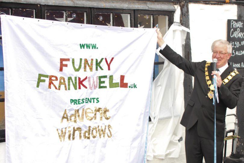 Mayor of Shrewsbury, Phil Gillam unveils the first window