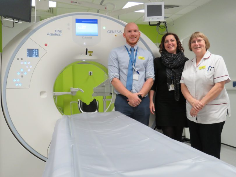 Glen Whitehouse, Jan McCloud and Sally Warren with the new CT scanner