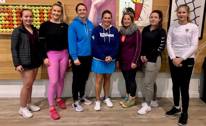 Shropshire's ladies team face the camera at The Shrewsbury Club, from left: Hanna Cadwallader, Chloe Hughes, Holly Mowling (captain), Cheryl Evans, Sue Dunn, Sarah Willacy and Tamzin Pountney
