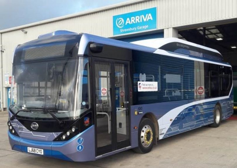 One of the electric buses trialled on Shrewsbury's Meole Brace park and ride service. Photo: Shropshire Council