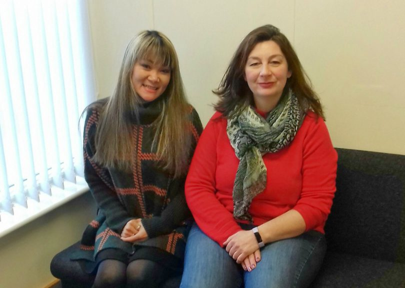 Positive Steps Shropshire Domiciliary Manager Elizabeth Casson and new employee My Dieu Jones (on left) who joined their Oswestry team during the campaign