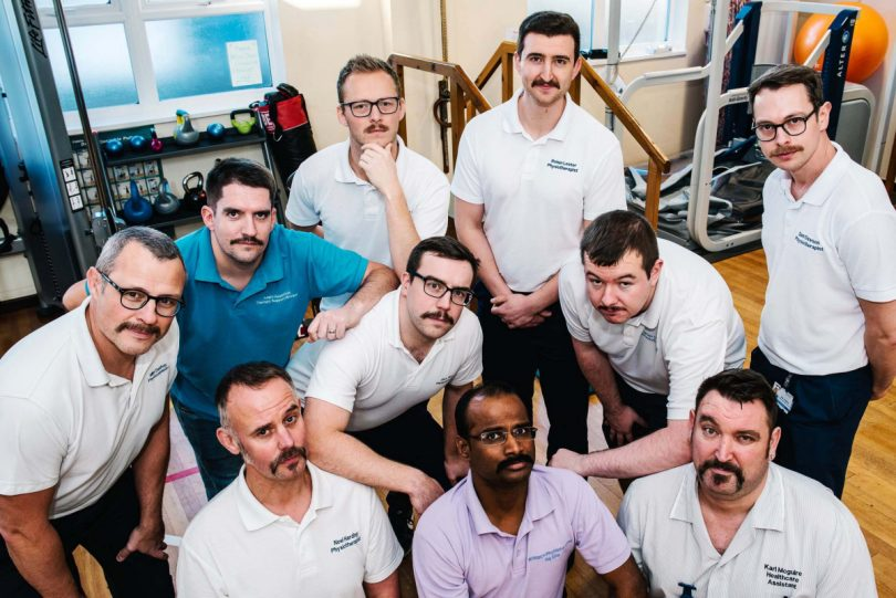 Members of the RJAH Physimo team with Karl Mcguire, Healthcare Assistant, at the end of Movember