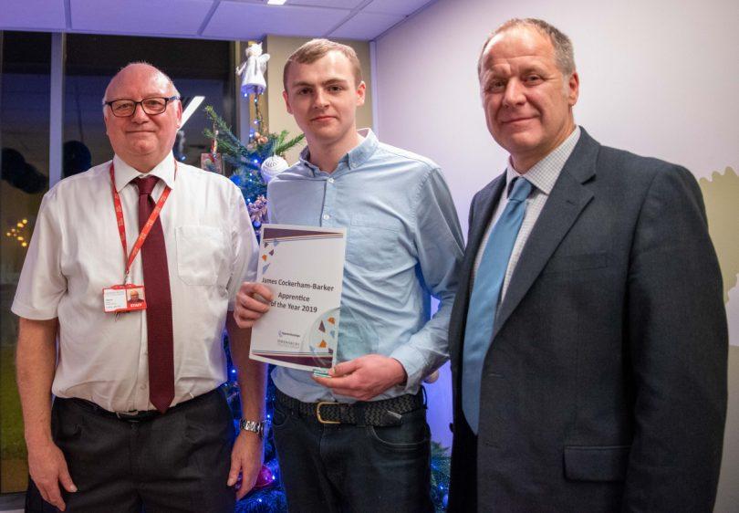 Steve Lloyd, Motor Vehicle Assessor at Shrewsbury Colleges Group, Apprentice of the Year, James Cockerham-Barker and Peter Powell from BMW Rybrook Shrewsbury