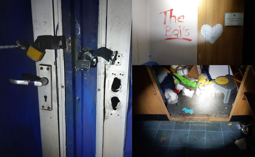 Damage was caused at the football club during the break-in. Photos: @MDraytonCops