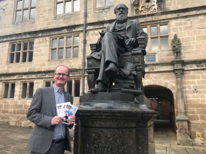 Paul Kirkbright, deputy provost of University Centre Shrewsbury and Shrewsbury BID director, with the festival programme
