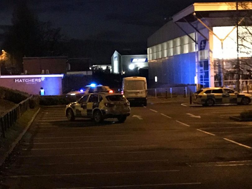 Police at the scene of the incident at Tesco Extra in Shrewsbury. Photo: Chris Pritchard / Shropshire Live