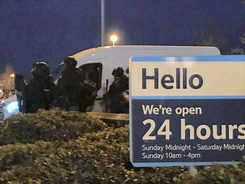 Armed police at the scene of the incident at Tesco Extra in Shrewsbury. Photo: Chris Pritchard / Shropshire Live