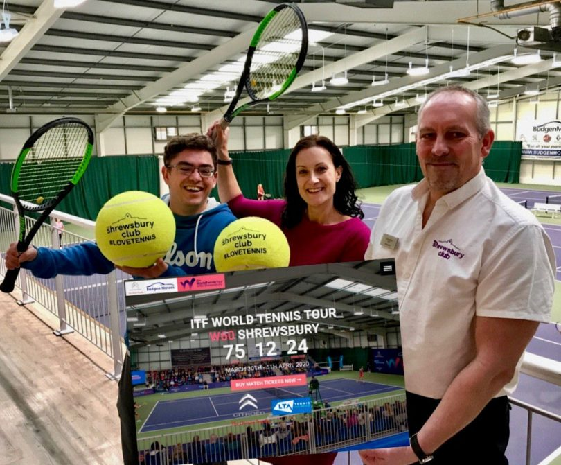 Beth Heath, director of fun for Shropshire Festivals, with, left, Simon Haddleton, The Shrewsbury Club's director of tennis, and the club's operations manager Richard Micklewright