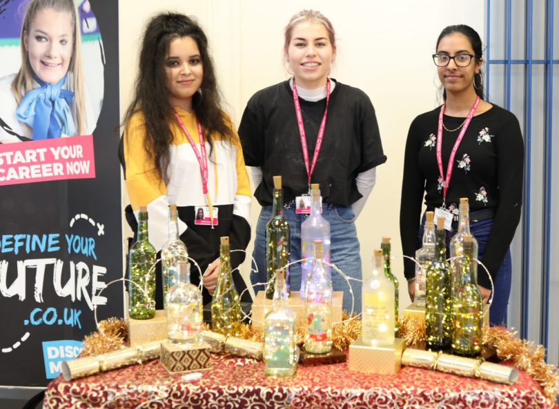 A 'glowing' report for Telford College business students Isabelle Peace, Mandeep Singh and Simran Singh, who are taking part in the Young Enterprise programme