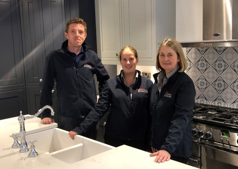 From left, Ben Jones (group showrooms manager), Sarah Derricutt (sales and design consultant) and Debbie Hilton (Bridgnorth showroom manager)