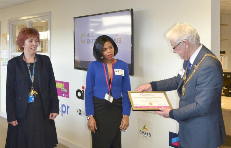 Mayor Stephen Reynolds presents the gold certificate to Catherine Lawson-Broadhead, left, with Andriane Usherwood, Careers & Enterprise Co-ordinator for Telford & Wrekin