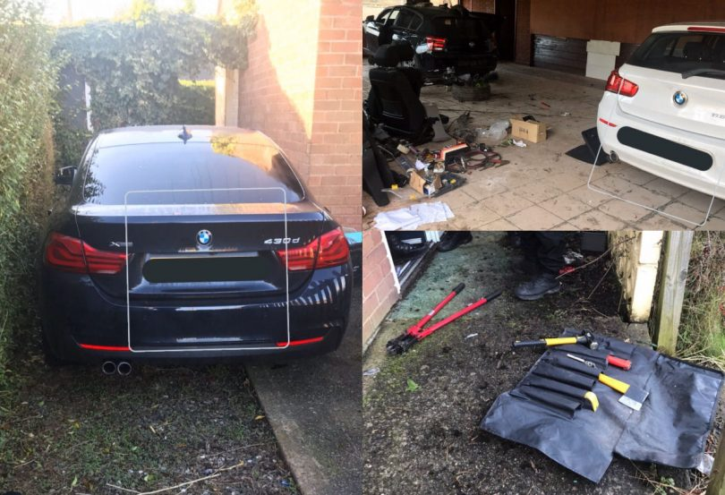 The cars were recovered by police in Oswestry. Photo: @LpptNWestMercia