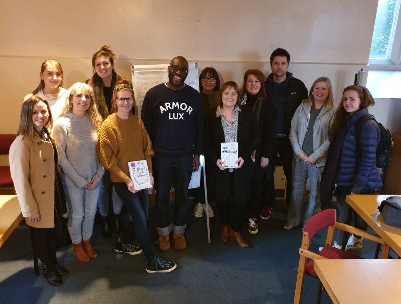 Mike Gayle with attendees of the writing course at Shrewsbury Library