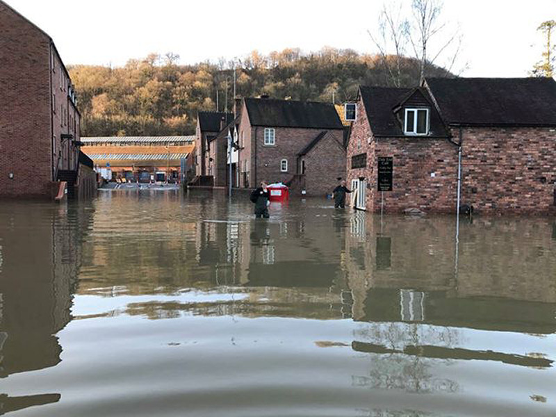 Flooding at Dale End in Ironbridge. Photo: Fay Evans