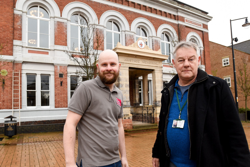 Andy Ward from FBC Manby Bowdler & Phil Griffiths of Madeley Town Council outside The Anstice