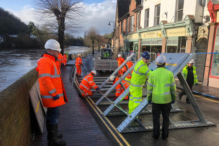Flood barriers being deployed in Ironbridge. Photo: Telford & Wrekin Council