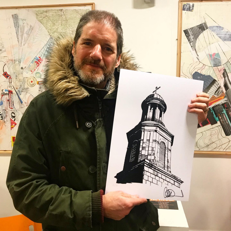 Charlie Adlard created four designs for Christmas cards that were available in and around the town during the festive period