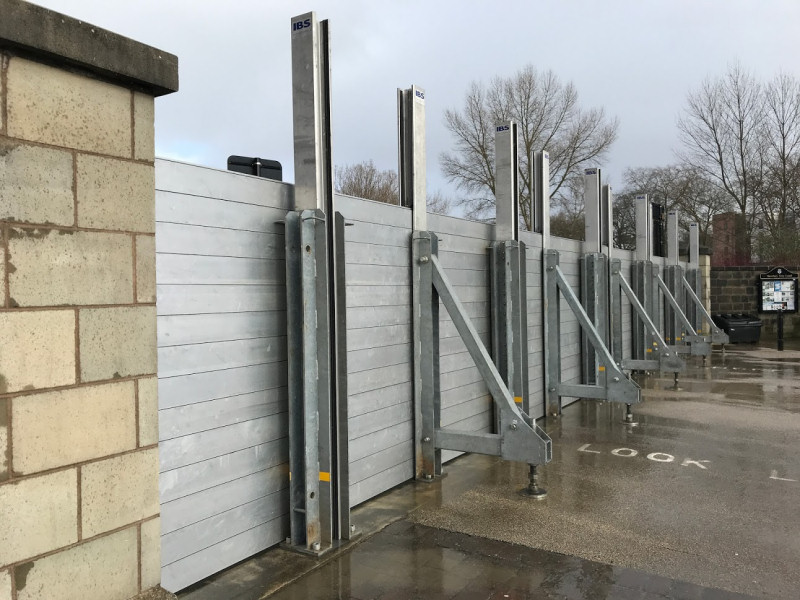 Flood defences in place at Frankwell, Shrewsbury. Photo: Chris Pritchard