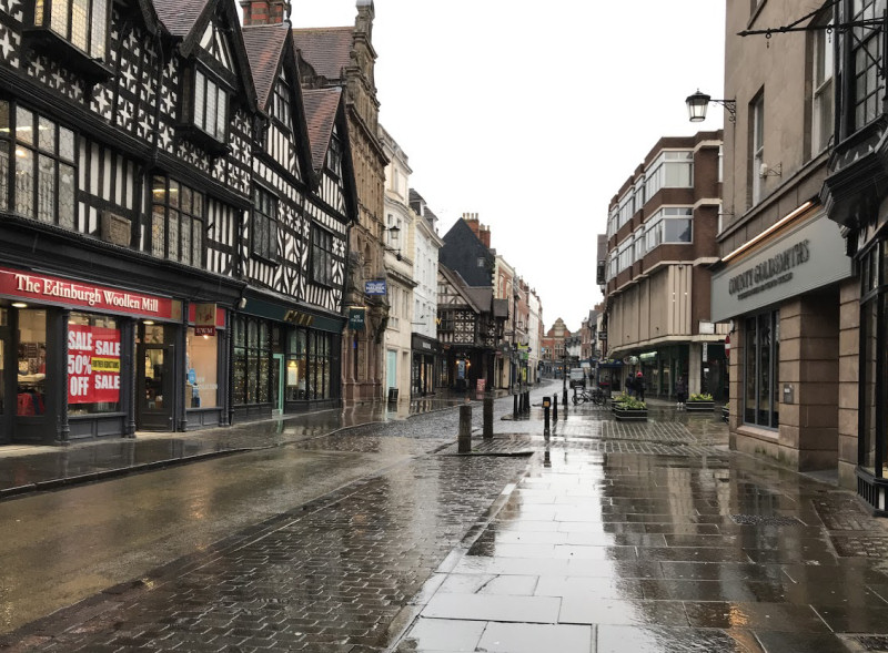 Shrewsbury's High Street on Tuesday afternoon as shoppers stayed away from the town centre due to flooding