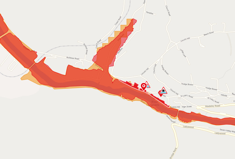 A severe flood warning is in place for the Ironbridge Gorge. Image: Environment Agency