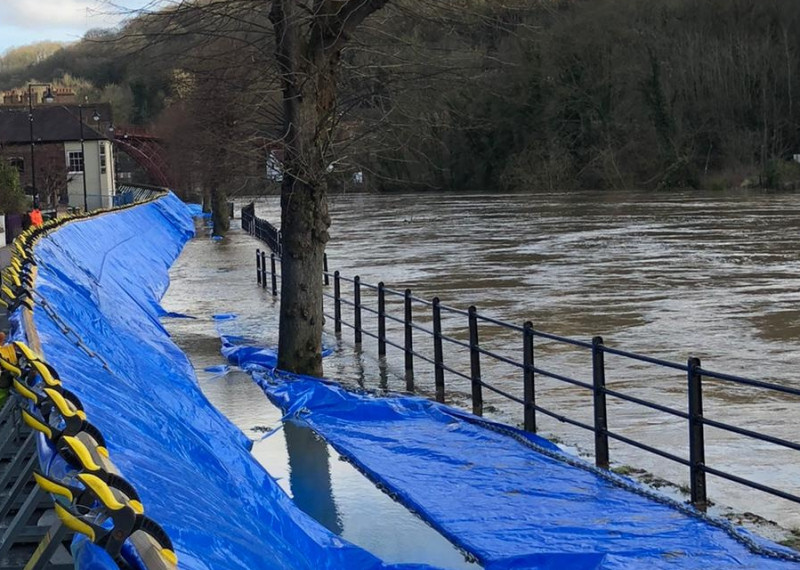 Flood defences along the Wharfage in Ironbridge. Photo: Telford & Wrekin Council