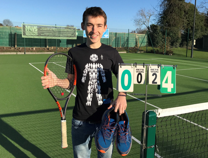 Jordan Evans is all set for his 24-hour Tennisathon at Bridgnorth Tennis Club to raise funds for Prostate Cancer UK