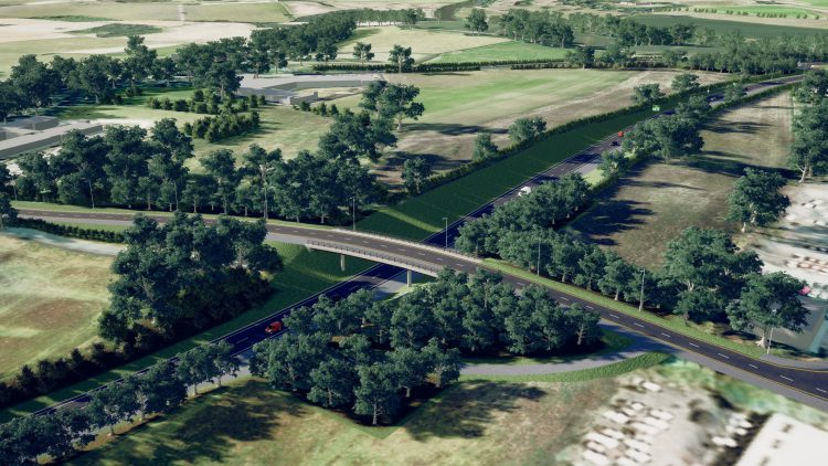 An image of how a section of the North West Relief Road will look. Image: Shropshire Council
