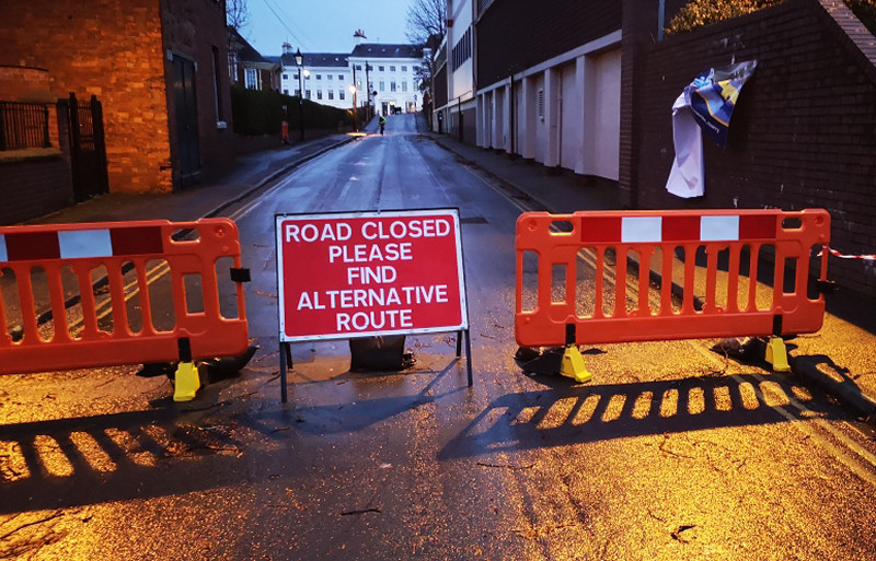 Priory Road is closed due to the risk that any loose debris could fall from the roof onto the road. Photo: Shropshire Council