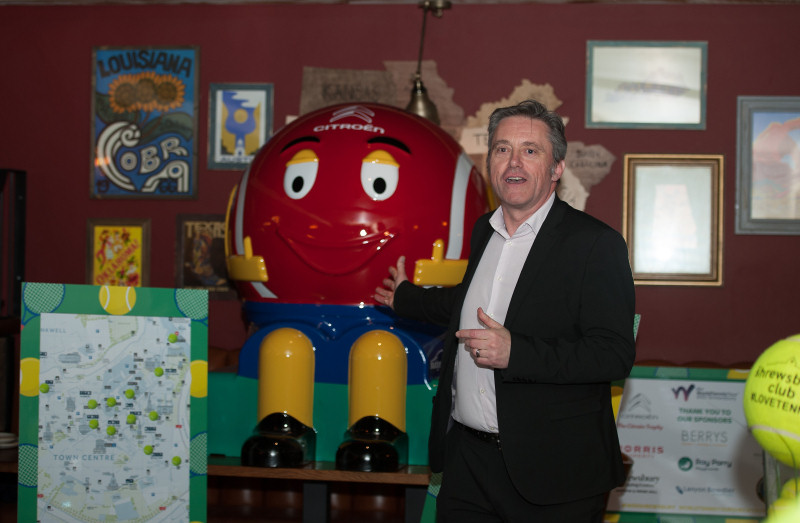 Dave Courteen, the managing director of The Shrewsbury Club, with the tennis ball sponsored by Citroen, which will be part of the Shrewsbury Tennis Ball Trail around the town centre. Photo: Richard Dawson Photography