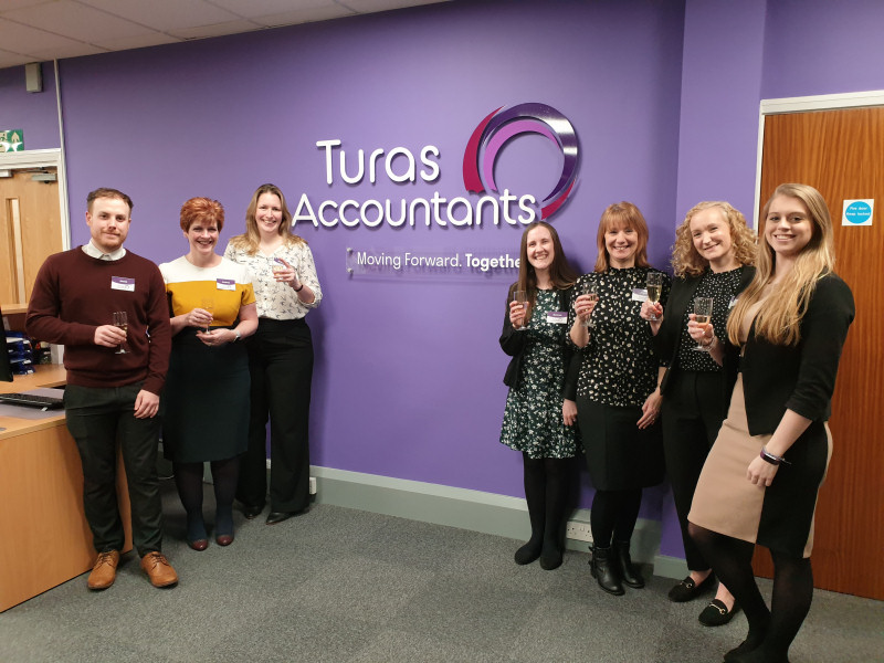 The Turas team left to right James Thatcher, Andrea Logan-Watson, Helen Columb, Gemma Hartshorn, Joyce Renhard, Kelly Parry and Vicki Evans