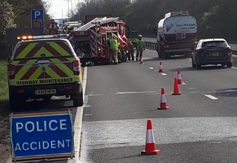 Firefighters at the scene of the fire on the A5 at Shrewsbury. Photo: @LpptNWestMercia