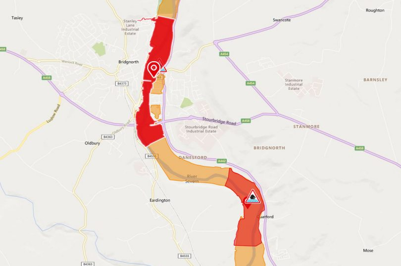 A flood warning is in place at Bridgnorth. Image: Environment Agency