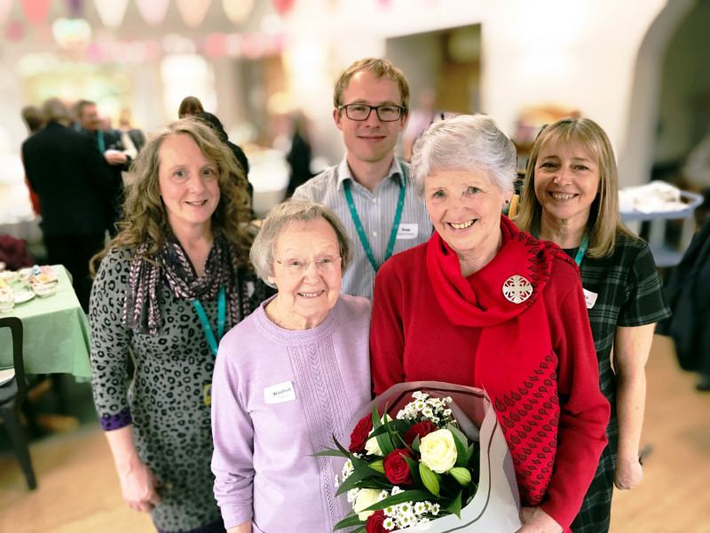 From left, Oswestry shop manager Debbie Woods, Winifred Lloyd, head of retail Ross Henderson, Jean Murray and director of care Becky Richardson