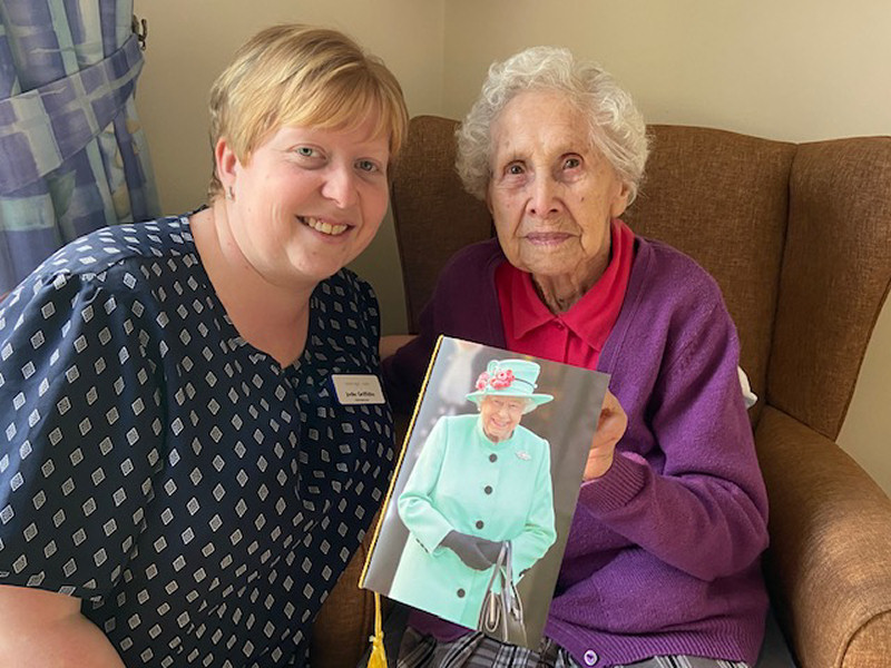 Gladys Jarvis, celebrating her 105th birthday, pictured with Jodie Griffiths at Stone House in Bishops Castle